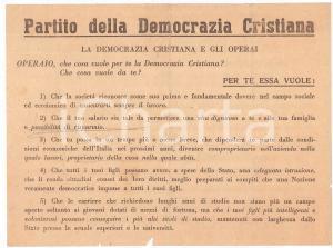 1950 ca DEMOCRAZIA CRISTIANA pro operai - Volantino PROPAGANDA