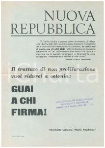 1968 Movimento Giovanile NUOVA REPUBBLICA - Trattato di non proliferazione