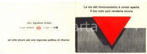 1968 Elezioni politiche - PSI /PSDI - Avv. Agostino VIVIANI Biglietto PROPAGANDA