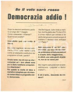 1972 Elezioni politiche - MILANO - Volantino C.P.D. SINISTRA NAZIONALE