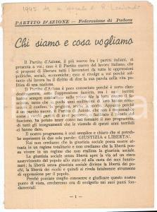 1945 PARTITO D'AZIONE - Federazione di PADOVA - Chi siamo *Pieghevole PROPAGANDA