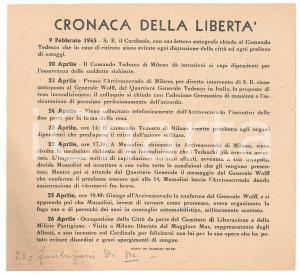 Aprile 1945 C.L.N. MILANO LIBERAZIONE - Cronaca della libertà - Volantino