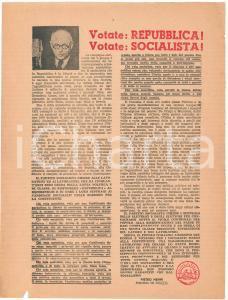 1946 Refendum 2 Giugno - PROPAGANDA PSI - Votate REPUBBLICA! - Volantino