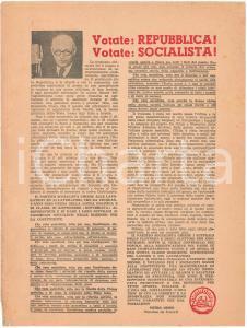 1946 Refendum 2 Giugno - PROPAGANDA PSI - Votate REPUBBLICA! *Volantino