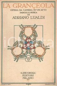 1931 Adriano LUALDI La Grançèola - Opera da camera - Ed. RICORDI