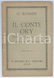1922 Gioacchino ROSSINI Il conte Ory - Melodramma - Ed. RICORDI