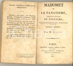 1822 VOLTAIRE Mahomet ou Le fanatisme - Tragédie - Ed. DELAUNAY PARIS
