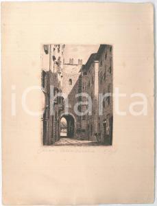 1900 ca ARTE - Pisa, città vecchia - Litografia 19x25 cm