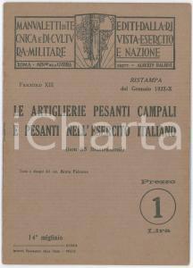 1932 Bruno FALCONE Artiglierie pesanti campali MANUALETTI DI TECNICA MILITARE