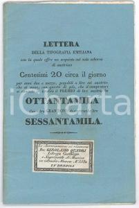 1840 VENEZIA Tipografia Emiliana - Lettera sottoscrizione 10 collezioni