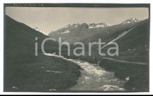 1920 Area di LIVIGNO - Ruscello di montagna -  Foto VINTAGE ANIMATA 14x9 cm