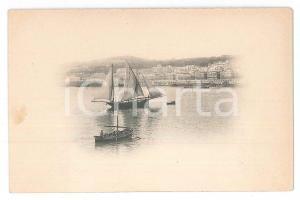 1900 ca FRANCE (?) Veduta di un porto con veliero - Cartolina 12x8 cm
