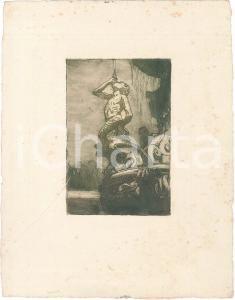 1920 ca ARTE - ANONIMO - Fontana con tritone - Litografia 26x34 cm