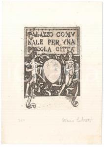 1911 MILANO Ottavio CABIATI Palazzo Comunale Piccola Città *Litografia AUTOGRAFO