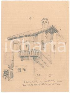 1911 MILANO - CHIARAVALLE Cascina tradizionale - Disegno a matita 12x16 cm